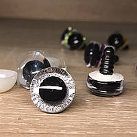 Блестящие глазки для игрушек 16 мм Серебристые