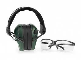 Навушники для стрільби оливкові RealHunter ACTiVE + захисні окуляри