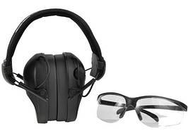 Навушники для стрільби чорні RealHunter ACTiVE + захисні окуляри