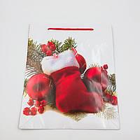 Пакеты подарочные бумажные ламинированные (новый год) гигант 28*34*9 cm