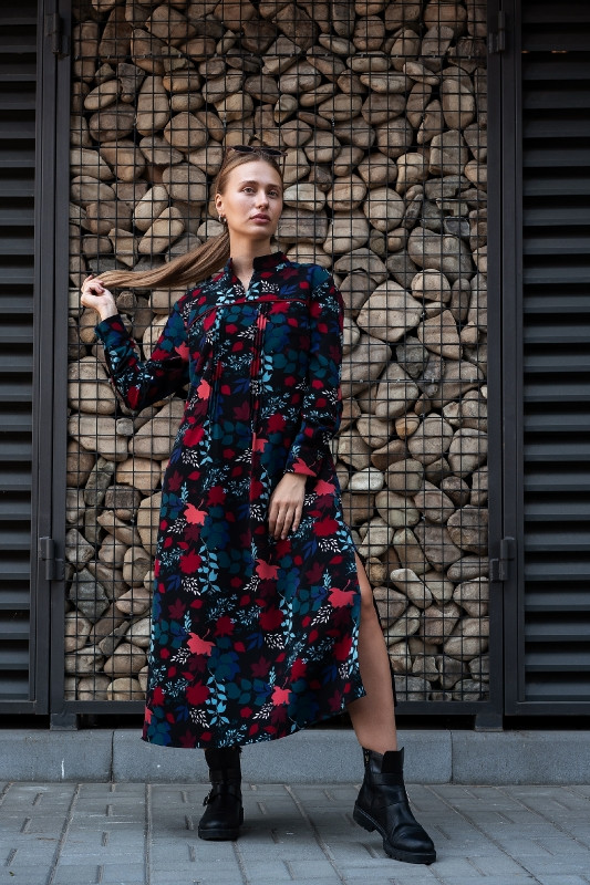 Сукня Тейлор чорне з листям Modna KAZKA