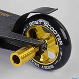 Дитячий трюковий самокат (HIC-система, колеса PU 100 см) Best Scooter 22879 Чорно-золотий, фото 5