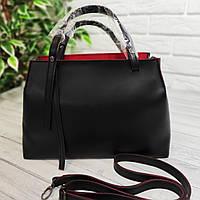 Элитная женская сумка из эко-кожи с красной подкладкой