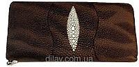 Кошелек женский коричневый на молний сделанный из искусственной кожи, фото 1
