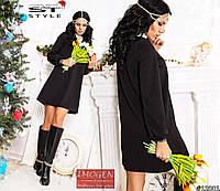 Платье женское свободное черное С кружевной горловиной