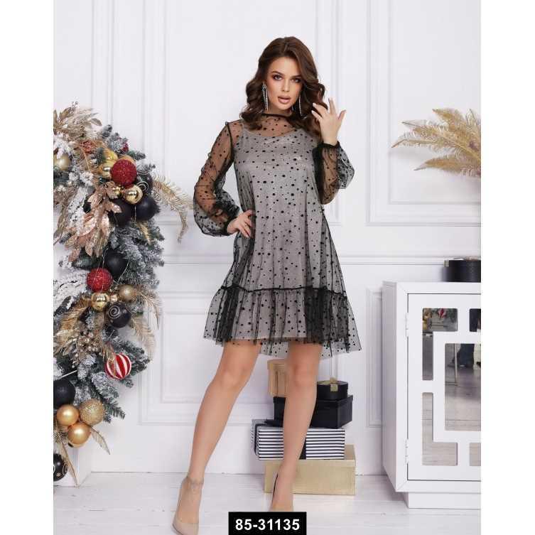Платья  12387  XL черный/серый, L-XL размер международный, 85-31135