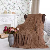 Плед на диван Травка, мягкое пушистое покрывало 200х220 (евро), подарок на свадьбу, юбилей