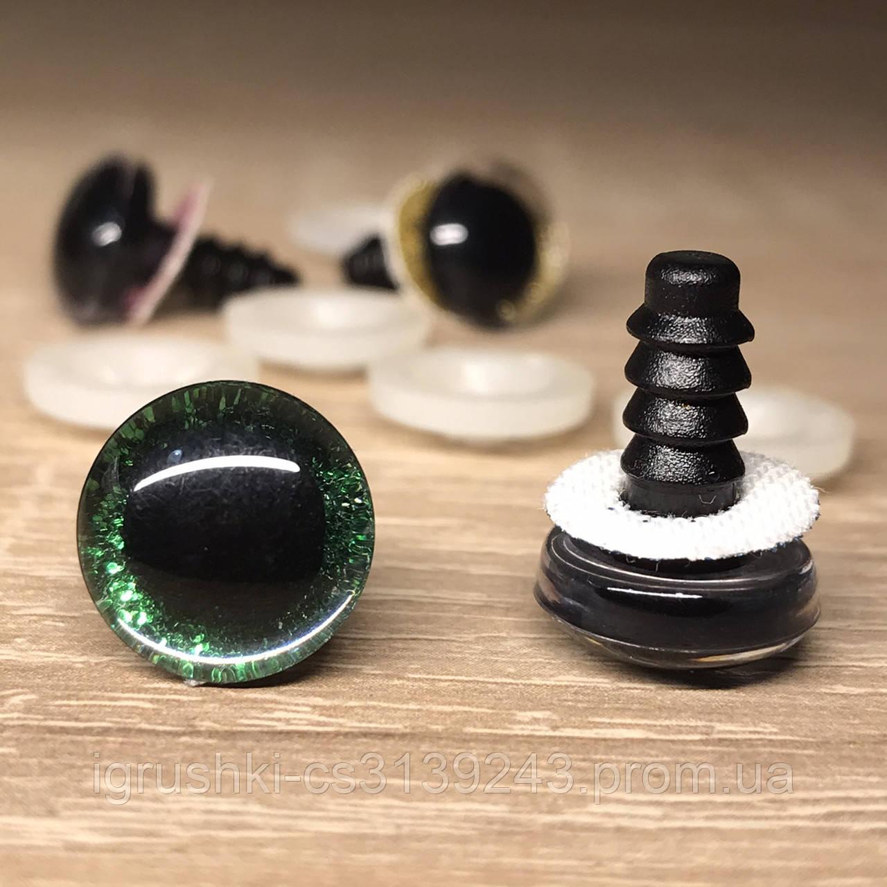 Блестящие глазки для игрушек 12 мм Зеленые