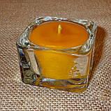 Квадратная восковая стеклянная чайная свеча 32г; натуральный пчелиный воск, фото 3