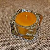 Квадратная восковая стеклянная чайная свеча 32г; натуральный пчелиный воск, фото 4