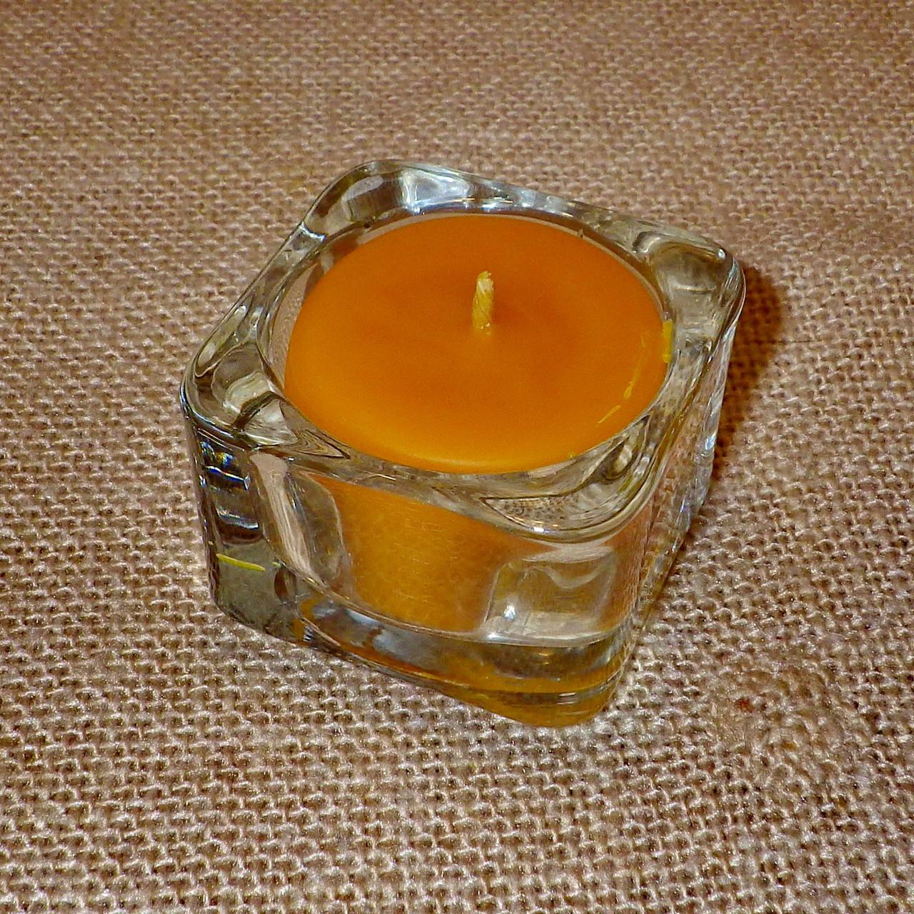 Квадратная восковая стеклянная чайная свеча 32г; натуральный пчелиный воск