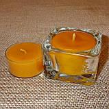 Квадратная восковая стеклянная чайная свеча 32г; натуральный пчелиный воск, фото 5