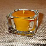 Квадратная восковая стеклянная чайная свеча 32г; натуральный пчелиный воск, фото 2