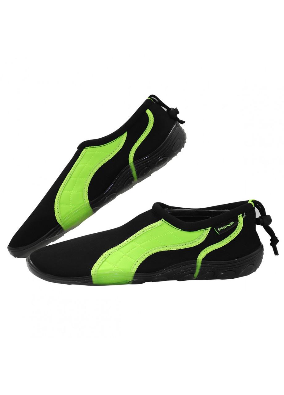 Обувь для пляжа (аквашузы, коралки) SportVida SV-GY0004-R44 размер 44 Black/Green. Акваобувь