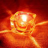 Квадратная восковая стеклянная чайная свеча 32г; натуральный пчелиный воск, фото 9