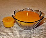 Наливная восковая стеклянная чайная свеча 90г; натуральный пчелиный воск, фото 3