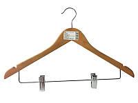 Деревянная вешалка-плечики 44см с прищепками для костюмов