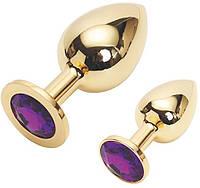 Золотая анальная пробка Golden plug large цвет кристалла фиолетовый