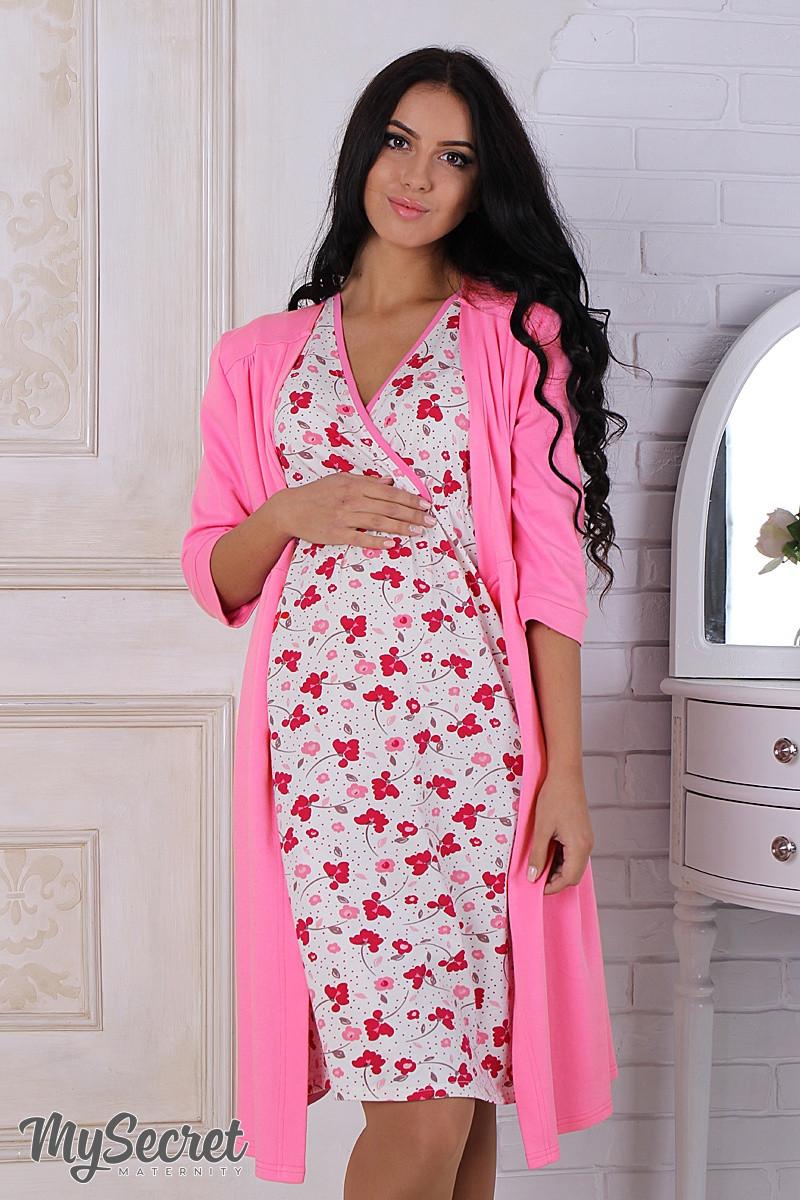 Комплект для беременных и кормящих мам, халат+ночнушка, розовый -  Интернет-магазин 92db2a8da29