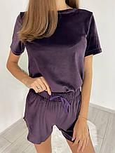 Женская плюшевая пижама (футболка с шортами) Сливовый