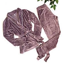 Плюшевый пижамный комплект (халат со штанами)