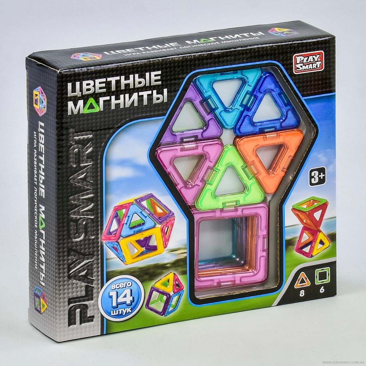 """Конструктор магнитный 14 деталей, 2425  """"Play Smart"""",  6 моделей, в коробке"""