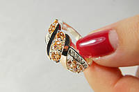 Красивое кольцо серебро 925 с цирконами и золотом