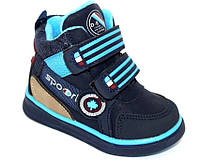 Детские осенние ботинки для мальчиков на липучках синие