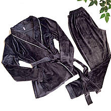 Плюшевый пижамный комплект (халат со штанами) Темно-серый