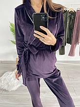 Плюшевый пижамный комплект (халат со штанами) Сливовый