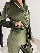 Плюшевый пижамный комплект (халат со штанами) Хаки