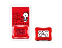 Konad Clear Jelly Stamp Set Штамп со скребком красный