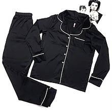 Женская атласная пижама (рубашка со штанами) Черный