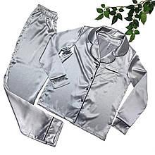 Женская атласная пижама (рубашка со штанами) Серый