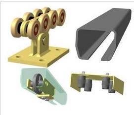 Комплект фурнитуры для откатных ворот Alutech (до 400 кг.), неоцынк. шина 70х60м, метал. ролики