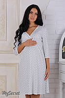 Ночная сорочка для беременных и кормящих Alisa, молочная с серыми цветами