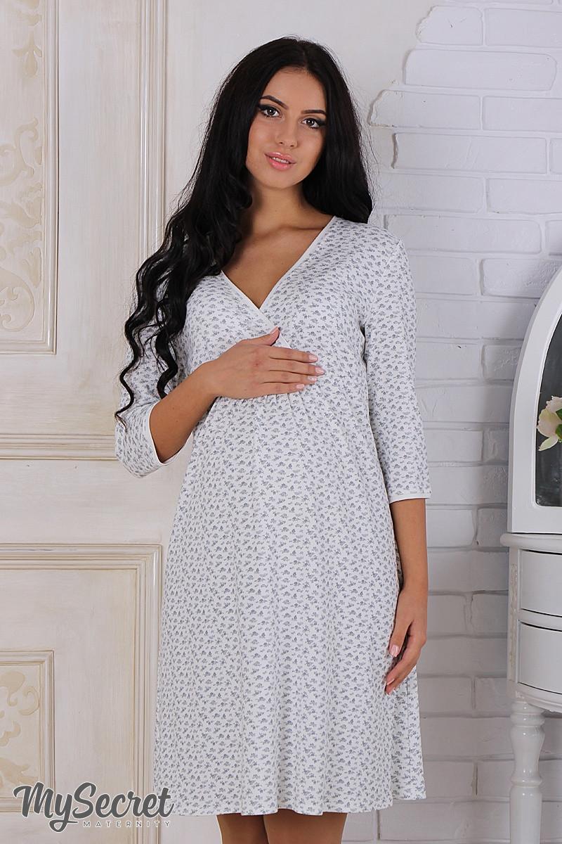 cd13d64846a95df Ночная сорочка для беременных и кормящих Alisa, молочная с серыми цветами -  Интернет-магазин