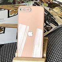 Чехол Color-Glass для Iphone 7 Plus / 8 Plus бампер с защитой камер Peach