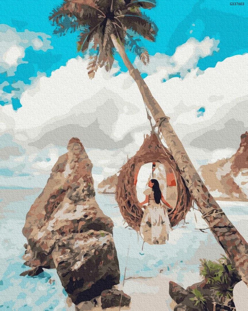 """Картина по номерах """"Дівчина на райському острові"""" (GX37603)"""