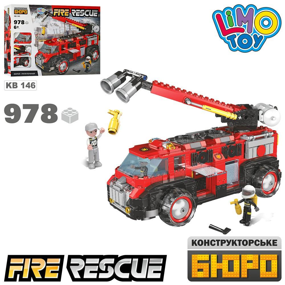 Конструктор KB 146  пожарная машина, фигурки, 978дет, в кор-ке, 49,5-35,5-7см