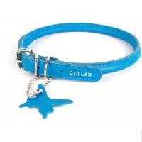 Collar Glamour круглый кожаный ошейник для длинношерстных собак синий 20-25см, 6мм