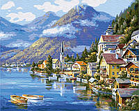 """Картина по номерах """"Селище біля підніжжя гори"""" (GX6936)"""