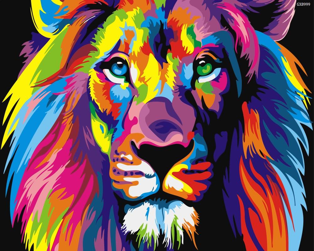 """Картина по номерах """"Різнокольоровий лев"""" (GX8999)"""