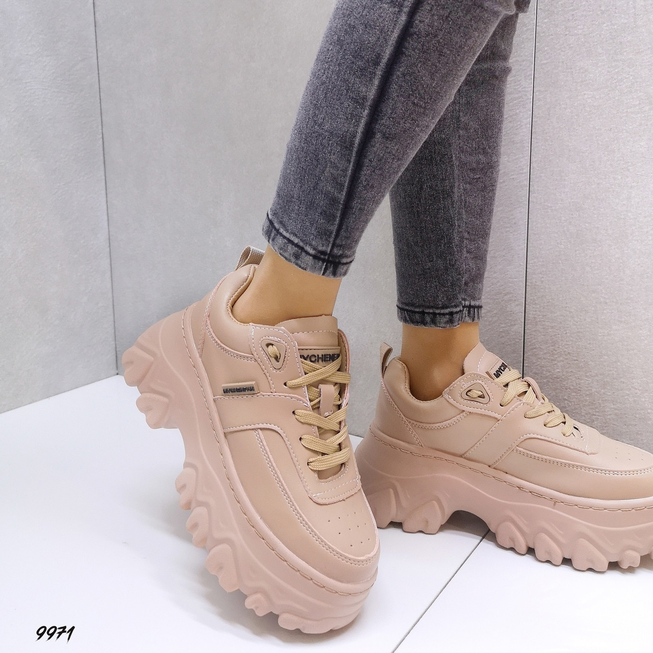 Женские кроссовки под бренд Цвет - Бежевый