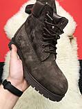 Чоловічі / жіночі зимові черевики Timberland Brown Fure Premium коричневі чоловічі черевики тімберленд зимові, фото 4