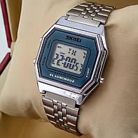 Легендарные женские кварцевые (электронные) наручные часы Skmei 1345 Old School Design mini, серебро
