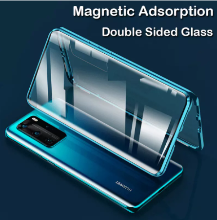 Магнитный металлический чехол FULL GLASS 360° для Huawei P40 Pro /