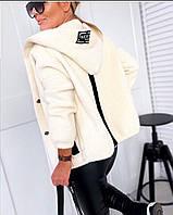 Кардиган женский теплый с капюшоном из шерсти Альпака