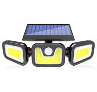 Уличная светодиодная солнечная лампа. 100СОВ. 3 лампы-головки. 3 режима. Датчики движения и освещенности.