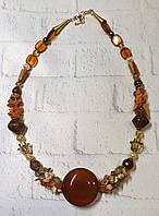Стильный  крупный кулон в подарок девушке  из натурального камня сердолик, фото 1